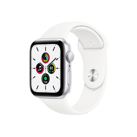 Apple Watch SE (GPS, 44mm) - Silver Aluminum Case with White Sport