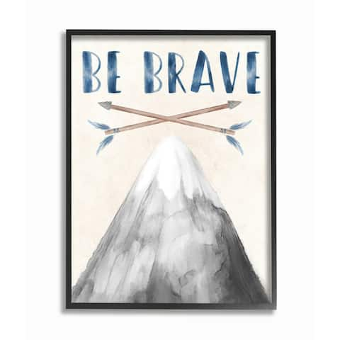 Stupell Industries Inspirational Be Brave Text Mountain Arrows Grey Blue Framed Wall Art