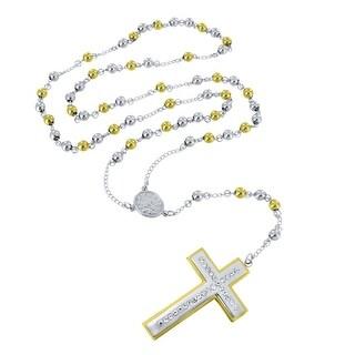 Mens Designer Rosary Cross Pendant Gold Finish Over Stainless Steel New In Style