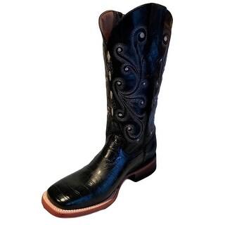 Ferrini Western Boots Womens Gator Print Exotic Cowboy Black