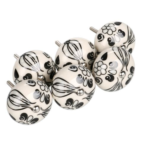 6xHand Painted Ceramic Door Knobs Cabinet Drawer Wardrobe Pull Handles