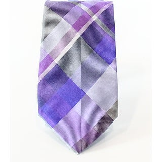Alfani NEW Lilac Purple Men's Slim Tulum Plaid Print Silk Neck Tie