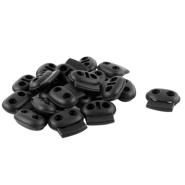 ea6bee314fd1 Shop Unique Bargains Plastic 5mm Dia Double Holes Bean Cord Lock Stoppers  Black 20 Pcs - On Sale - Free Shipping On Orders Over  45 - Overstock.com -  ...