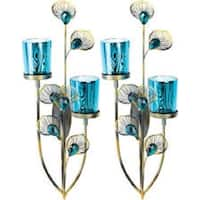 2 Peacock Plume Wall Sconces