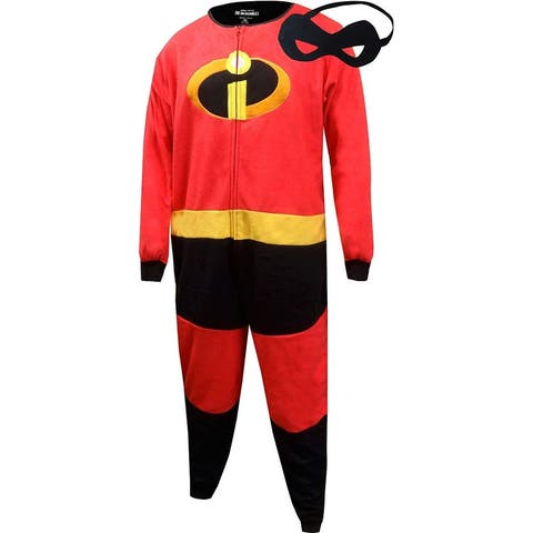 Disney The Incredibles Mr. Incredible Men's Jumpsuit Pajama w/ Mask - Red