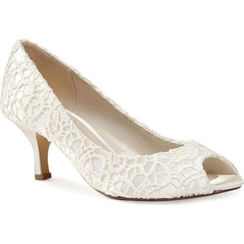 Pink Paradox London Women's Emotion Peep Toe Pump Ivory Lace/Satin