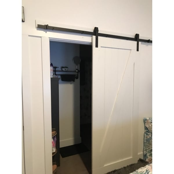 Shop Farm Style Sliding Door, Unfinished With Sliding Door Hardware Kit    Free Shipping Today   Overstock.com   19507162