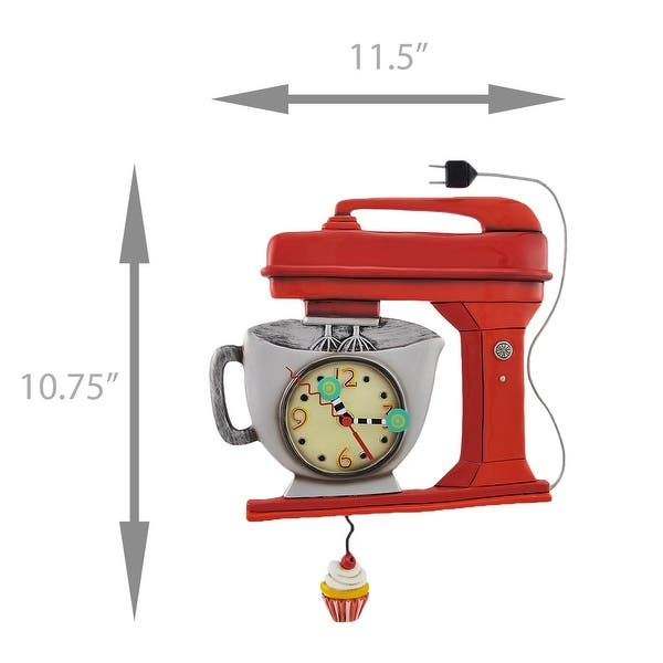 Shop Allen Designs Red Vintage Kitchen Mixer Wall Clock with ...