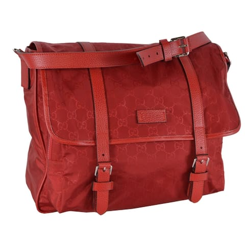 Gucci 510334 Large Red Nylon Leather GG Guccissima Messenger Bag