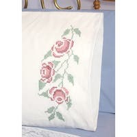 "Stamped Perle Edge Pillowcases 30""X20"" 2/Pkg-Three Roses"