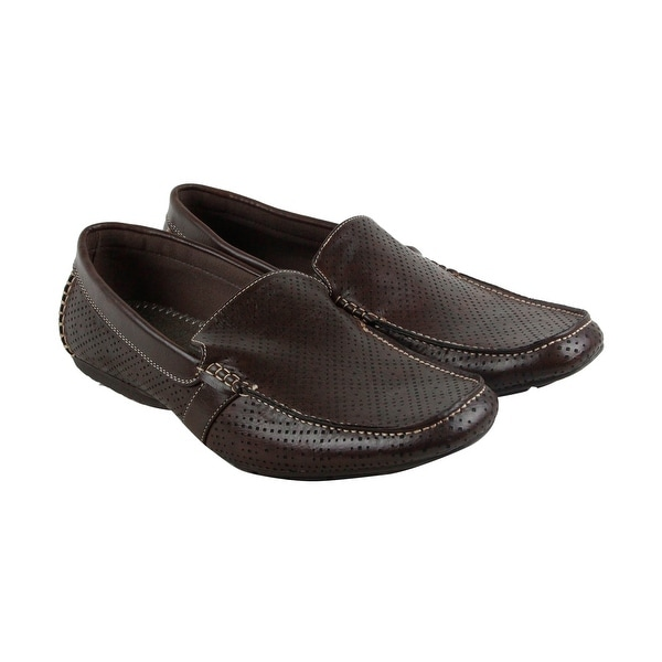 Steve Madden M-Hosted Mens Brown Leather Casual Dress Slip On Loafers Shoes