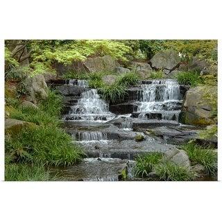 """Japanese garden waterfall"" Poster Print"