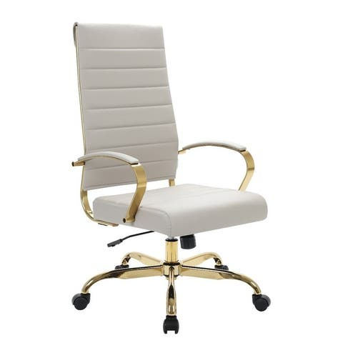 LeisureMod Benmar High-Back Leather Office Chair W/ Gold Frame