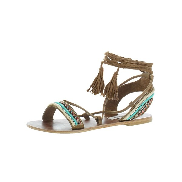 Steve Madden Womens Orva Gladiator Sandals Leather Embellished - 7 medium (b,m)