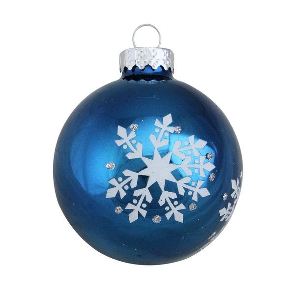 """4ct Shiny Blue with Silver Snowflakes Glass Ball Christmas Ornaments 2.5"""" (65mm)"""
