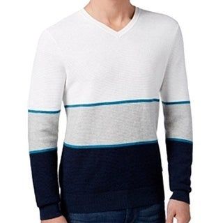 Michael Kors NEW Blue White Mens Size XL V-Neck Colorblock Sweater