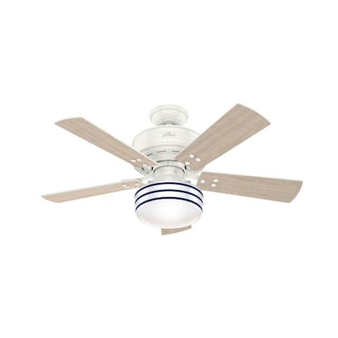 """Hunter 44"""" Cedar Key Outdoor Ceiling Fan with LED Light Kit and Handheld Remote, Damp Rated"""