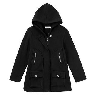 Littoe Potatoes Little Girls Black Flap Pockets Button Accents Hooded Coat