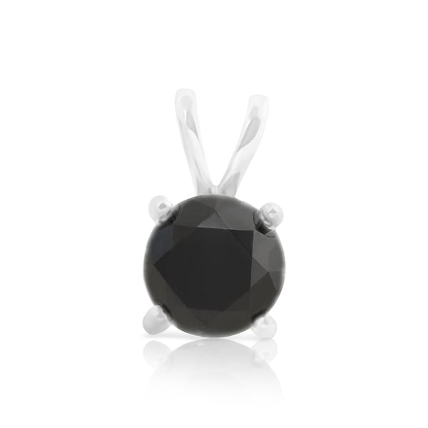 Brand New Round Brilliant Cut Prong Set Black Diamond Solitaire Pendant