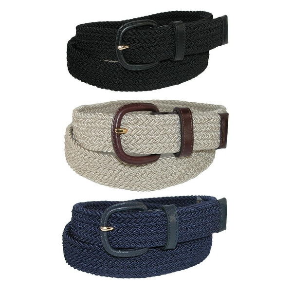Aquarius Men's Stretch Belt with Covered Buckle (Big & Tall Available) (Pack of 3)
