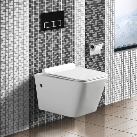 """Madison In-Wall toilet Combo Set - 22"""" Toilet Bowl With Soft-Close Seat, 2""""x 6"""" Tank And Carrier System, Push Buttons Included."""