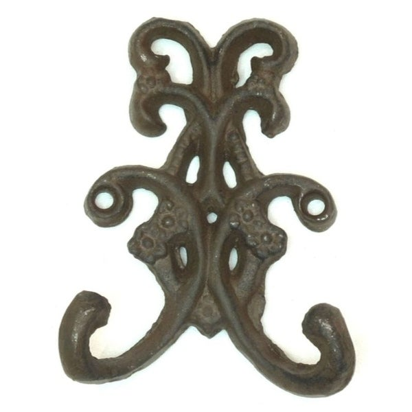 Set of 6 Rust Double Floral Hooks