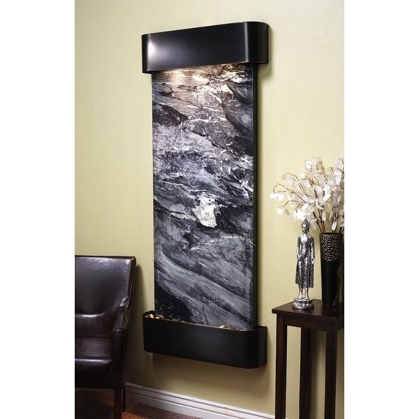 Adagio Inspiration Falls Fountain w/ Black Spider Marble in Blackened Copper Fin