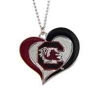 South Carolina Gamecocks Swirl Heart Necklace NCAA Charm Gift