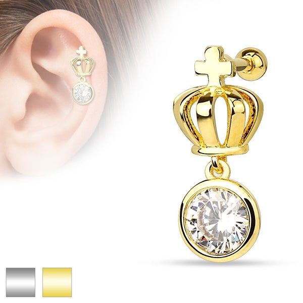 Crown with Round CZ Dangle 316L Surgical Steel Cartilage/Tragus Barbell (Sold Ind.)
