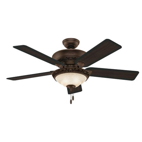 """Hunter 52"""" Italian Countryside Ceiling Fan with LED Light Kit and Pull Chain - PA Cocoa"""
