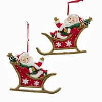 Pack of 12 Red and White Glittery Finish Santa Claus in Sleigh Christmas Ornaments 4""