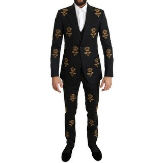 Dolce & Gabbana Dolce & Gabbana Black Wool Gold Crystal Bee Crown Slim Fit Suit - it44-xs