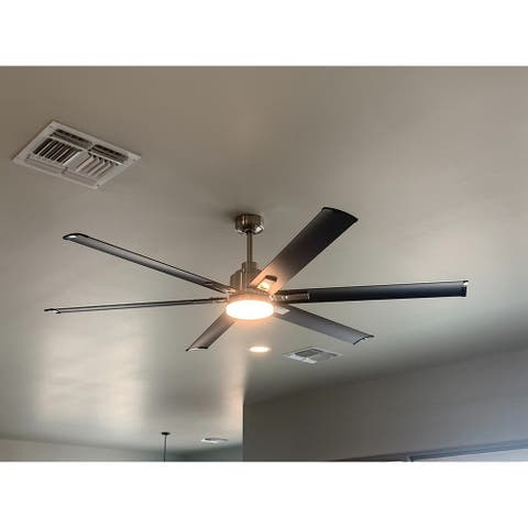 72-in Brushed Chrome 6-Blade Ceiling Fan with Remote Control