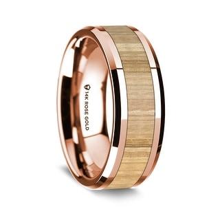 14K Rose Gold Polished Beveled Edges Wedding Ring With Ash Wood Inlay 8 Mm