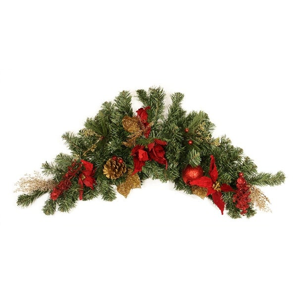 "36"" Pre-Decorated Pine, Red Poinsettia, Eucalyptus and Gold Pine Cone Artificial Christmas Swag - Unlit - green"