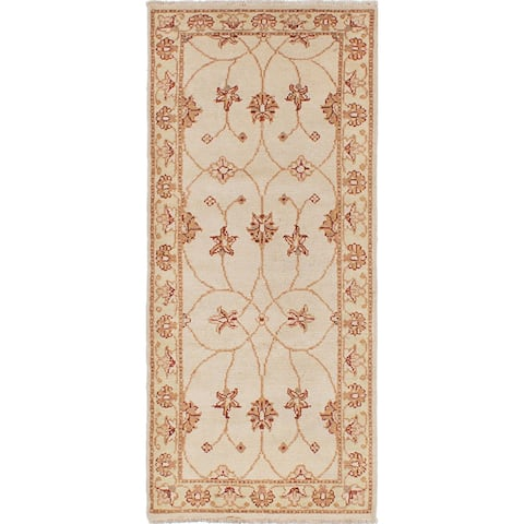 """ECARPETGALLERY Hand-knotted Chubi Collection Cream Wool Rug - 2'6"""" x 5'8"""" Runner"""