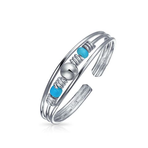 Dainty Blue Beaded Sterling Silver Compressed Turquoise Toe Midi Rings