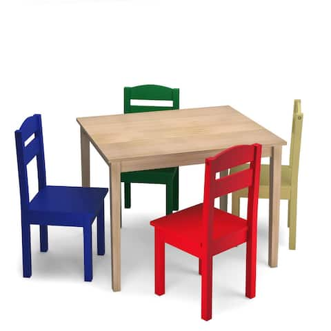 Costway Kids 5 Piece Table Chair Set Pine Wood Multicolor Children