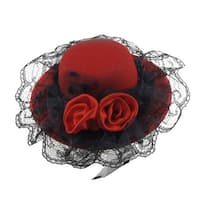 Unique Bargains Red Dual Flowers Black Lace Hat Cap Type Alligator Hair Clip