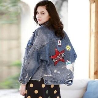 Harajuku Style Jacket Fashion Patch Hole Jacket
