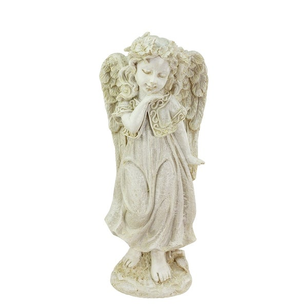 "10.25"" Heavenly Gardens Distressed Ivory Angel Girl w/ Floral Crown Outdoor Patio Garden Statue"