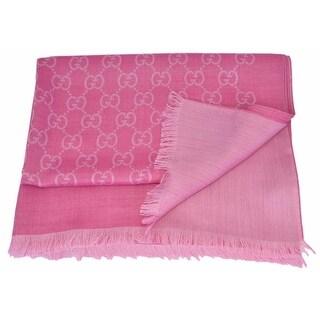 "Gucci 165903 Large Lightweight Rosette Pink Wool Silk GG Guccissima Scarf - 78"" x 28"""