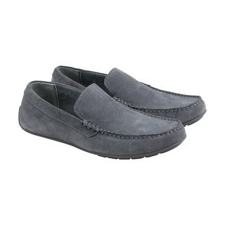 Calvin Klein Issac Oily Sueded Mens Gray Suede Casual Dress Boat Shoes Shoes