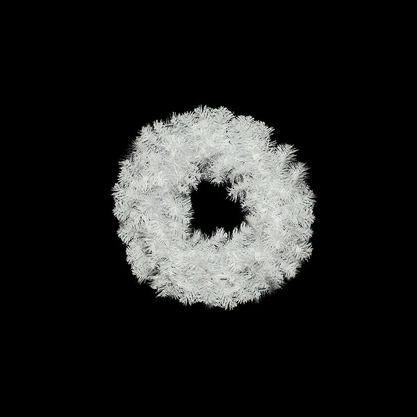 """20"""" White Crystal Spruce Artificial Christmas Wreath - Unlit"""