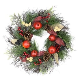 """24"""" Autumn Harvest Mixed Pine  Berry and Nut Thanksgiving Fall Wreath - Unlit"""