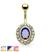 Oval Shape Paved CZ Around Large Oval CZ gold-plated Belly Button Rings