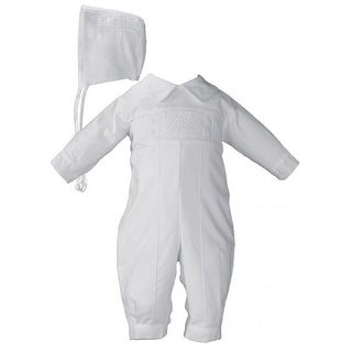 Baby Boys White Long Sleeve Cotton Hand Smocked Christening Outfit