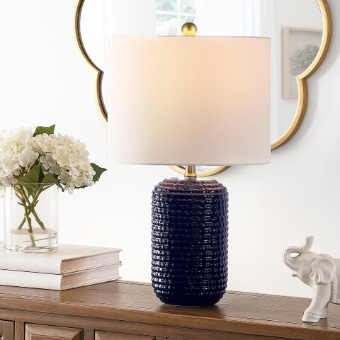 "SAFAVIEH Lighting 22-inch Jace Ceramic Table Lamp (Set of 2) - 13"" x 13"" x 22"""