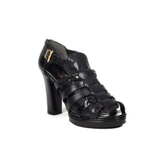 Robert Clergerie Women's 'Nimi' Leather Strapped Sandal Heel Black