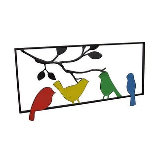 Colorful Retro Birds And Tree Branch In Frame Metal Wall Hanging